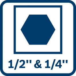 """2-in-1 bit holder – for even more applications combining 1/2"""" square and 1/4"""" hexagon"""