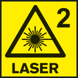 Laser class 2 Laser class for measuring tools.