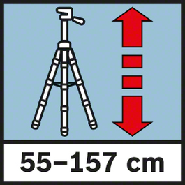 Working height 55-157 cm Working height from 55 to 157 cm