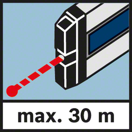 Measuring range of laser max. 30 m Measuring range maximum 30 m